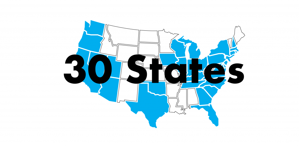 YoGov Locations - Now in 30 States